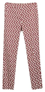 Zara Maroon Print Trouser Pants Red