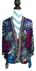Boston Proper Tribal Print Bohemian Embellished Butterfly Sleeve Mesh Tunic