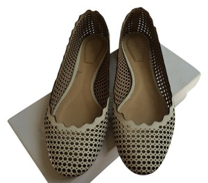 Chlo Perforated Leather Ballerina White Flats