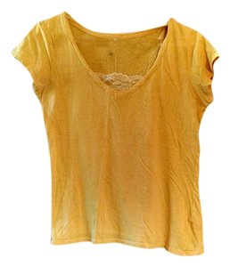 Rue 21 Knit Free Shipping Womens Juniors Size L Tee Lace Short Sleeved Light Top Yellow Gold