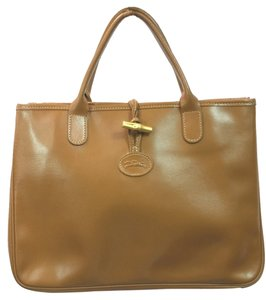 Longchamp Roseau Leather Tote in BROWN