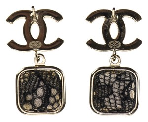 Chanel Chanel Stud CC Square Dangle Earrings