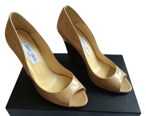 Jimmy Choo Patent Wedge Biel Nude with Gold Heel Wedges