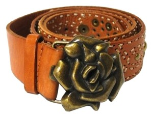 Betsey Johnson Betsey Johnson Leather Belt Metal Rose Buckle Women's