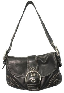 Coach Leather Trim Canvas Shoulder Bag