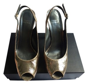 Stuart Weitzman Metallic Slingback Gold Metallic Pumps
