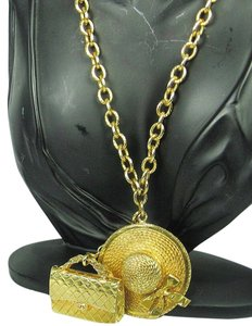 Chanel Vintage Chanel Gold Tone Hat and Handbag Charm Necklace