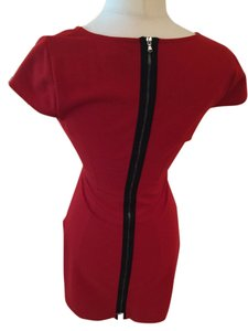 Kenneth Cole short dress Red Sexy Zip Cotton Low V-neck on Tradesy
