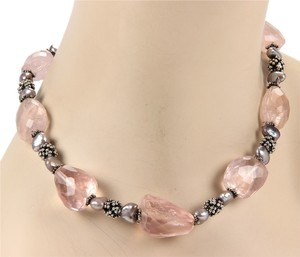 Stephen Yearick Stephen Dweck Beaded Rose Quartz & Mother of Pearls Toggle Necklace in Sterling -#14301