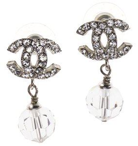 Chanel Chanel Silver CC Dangle Crystal Earrings