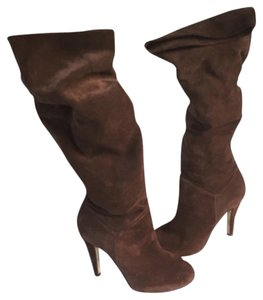 Butter Chocolate Suede Otk Over The Knee Slouch High Heeled Frye Brown Boots