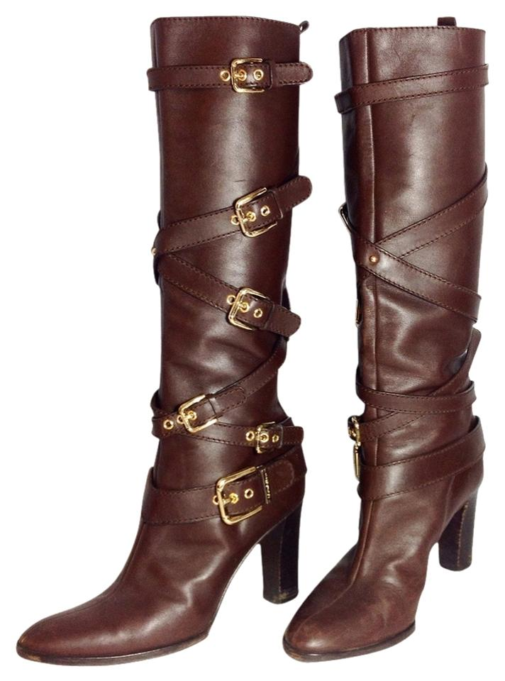 Dolce&Gabbana Buckled Dark Brown Gold Buckled Dolce&Gabbana Boots/Booties 77c605