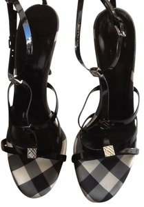 Burberry Black patent with black & white Burberry print Sandals