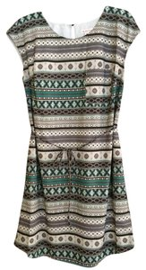 Merona short dress Grey / Black / Teal Pattern Geometric Aztec on Tradesy