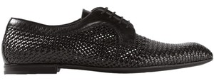 Bottega Veneta Woven Derby Leather Black Flats