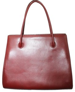 Adrienne Vittadini Leather Satchel in BURGUNDY