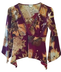 Max Rave Free Shipping Size M Long Sleeved M 12 14 Red Print Floral Womens Top Multi