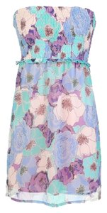 Tulle short dress Blue Floral Print Smock on Tradesy