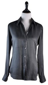 CoSTUME NATIONAL Silk Striped Gray Shirt Size 42 Top Black