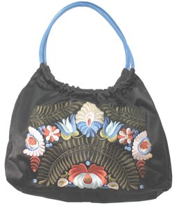 Adrienne Vittadini Embroidered Satin Hobo Bag