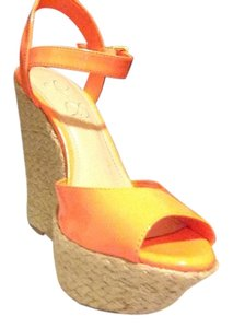 Jessica Simpson Neon Orange Wedges