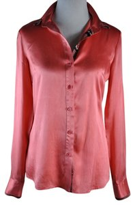 Just Cavalli Silk Snakeskin Long Sleeve Shirt Button Up Top Coral-Pink