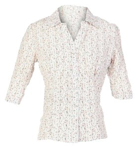Tulle Print Smock Button Down Shirt White
