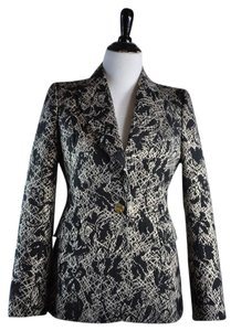Just Cavalli Black Metallic Woven Tuxedo Jacket Size 42 Black White Blazer