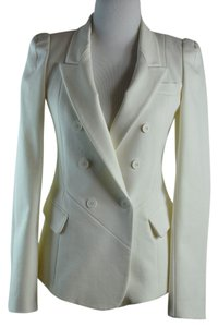 Yigal Azrouël Cotton Blend Tuxedo Peaked Ivory Blazer