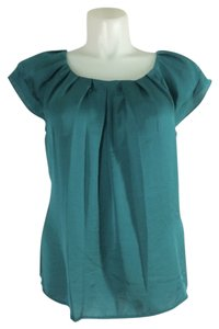 dressbarn Knife Pleat Neckline Tiered Top Teal
