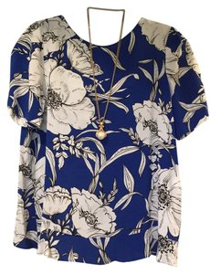 Zara Top Cobalt Blue floral Blouse