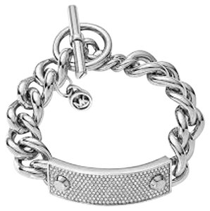 Michael Kors Michael Kors MKJ3608 Silver Pave Crystal Plaque Toggle Chain Bracelet