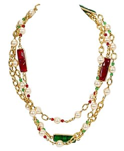 Chanel Chanel Red & Green Sautoir Necklace