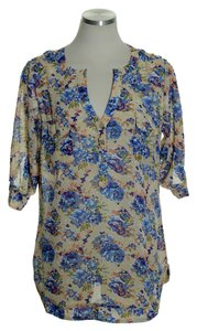 Angie Sheer Popover Top Beige/Blue