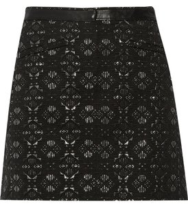 Maje Mini Fall Jacquard Mini Skirt Black and silver