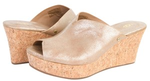 UGG Australia Dominique Wash Cork Platform Sandals Gold Washed Leather Wedges