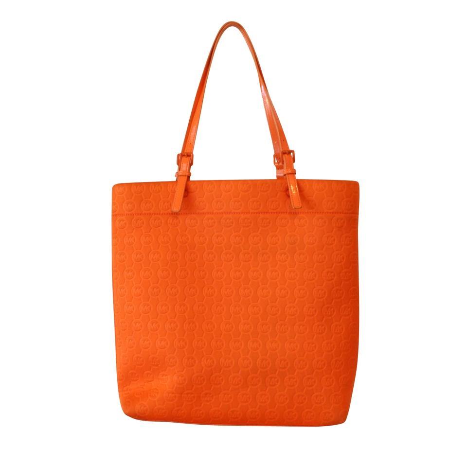 bc486ac05596 Michael Kors Mk Monogram Patent Leather Canvas Tote in Orange Image 5.  123456