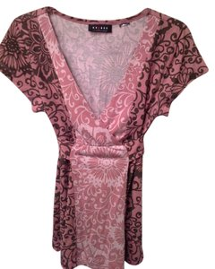 Axcess Tie Back Elastic Empire Waist Top SHELL PINK AND BROWN