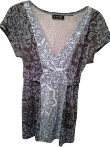Axcess Tie Back Elastic Empire Waist Top BLUES AND BROWN