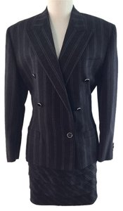 Versace Crackled Pinstripe Blazer and Skirt Suit