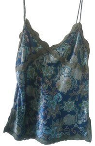Mixit Women Large Blue Green Floral Top