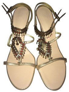 Giuseppe Zanotti Jeweled Red/Gold Sandals