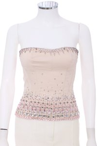 Marciano Beaded Satin Silk Rhinestone Couture Top Blush