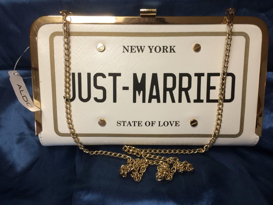 90975aff3f6 ALDO White/Ivory/Gold Clutch Freetown Just Married Perfect Bridal Handbag