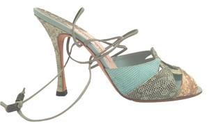 Manolo Blahnik Ankle Tie turquoise, black and nude skin Sandals