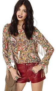 Nasty Gal Fringed Top Multi beige, grn, red