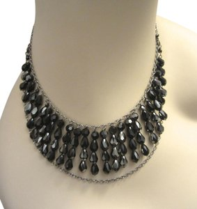 Swarovski Brand Black Crystal Necklace Double Silver Strand Necklace Sparkling!