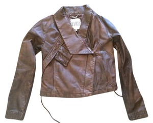 BB Dakota Leather Motorcycle Cognac Brown Leather Jacket