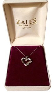 Zales Zales diamond heart and sterling silver pendant necklace