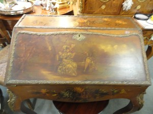 Antique French Secretary Vernis Martin Hand Painted